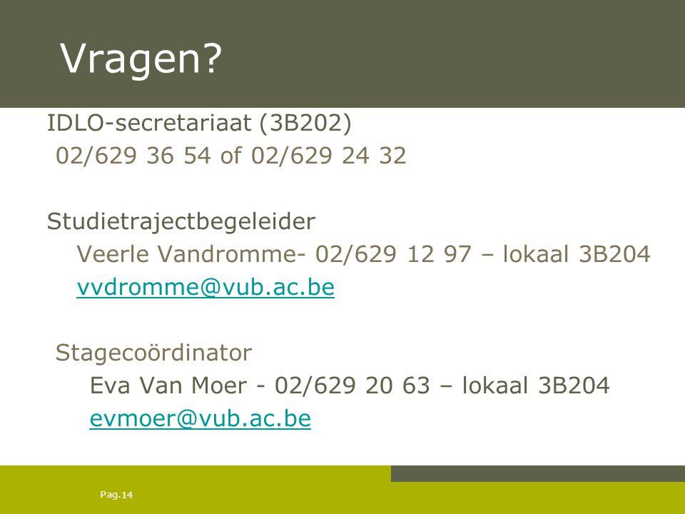 Vragen IDLO-secretariaat (3B202) 02/629 36 54 of 02/629 24 32