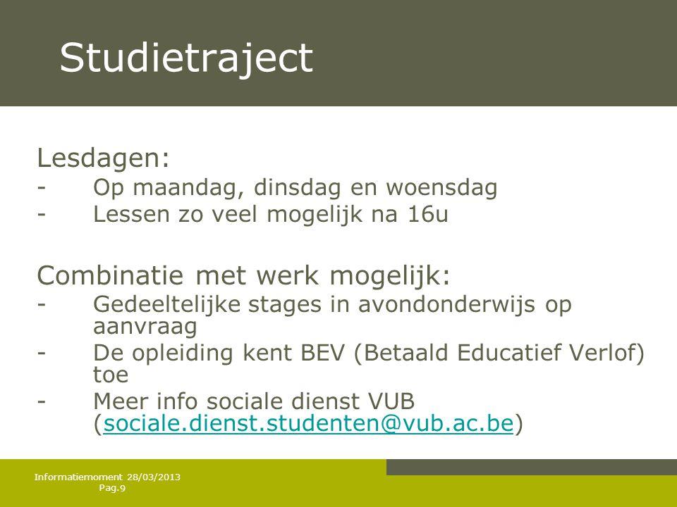 Studietraject Lesdagen: Combinatie met werk mogelijk: