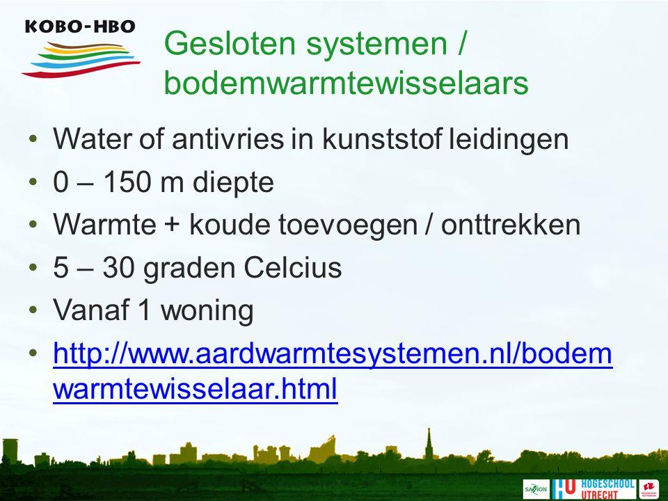 Gesloten systemen / bodemwarmtewisselaars