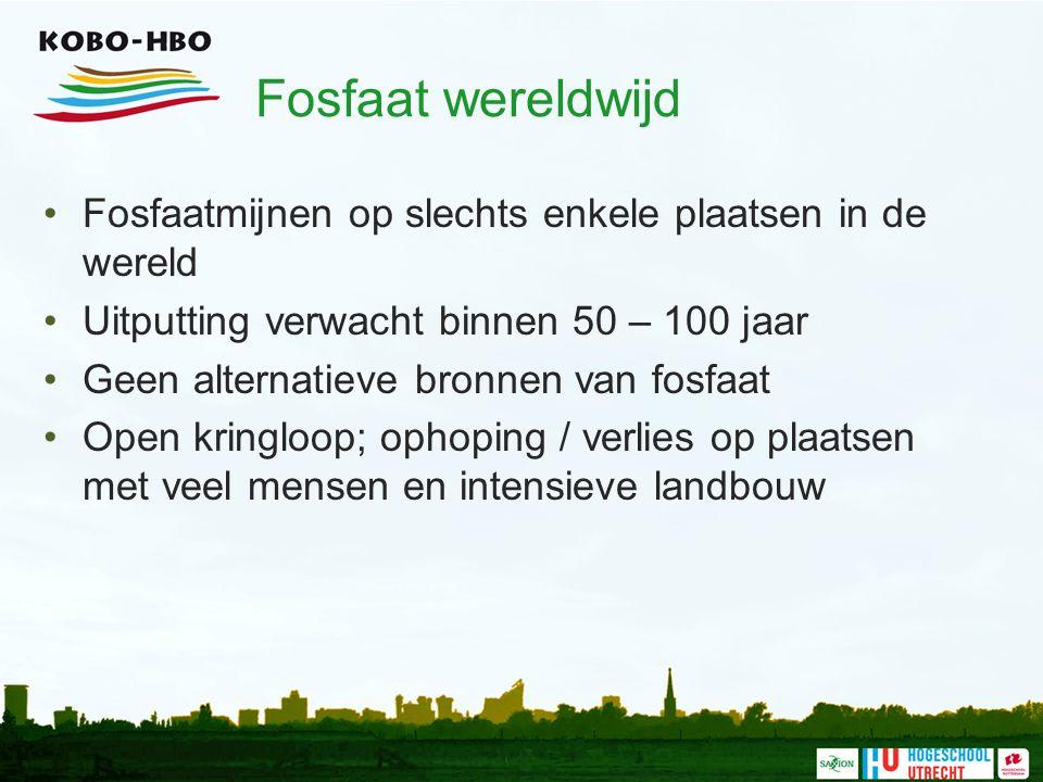 Fosfaat wereldwijd Fosfaatmijnen op slechts enkele plaatsen in de wereld. Uitputting verwacht binnen 50 – 100 jaar.
