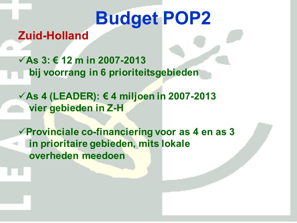 Budget POP2 Zuid-Holland As 3: € 12 m in 2007-2013