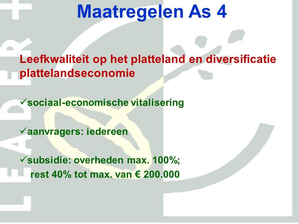 Maatregelen As 4 Leefkwaliteit op het platteland en diversificatie plattelandseconomie. sociaal-economische vitalisering.