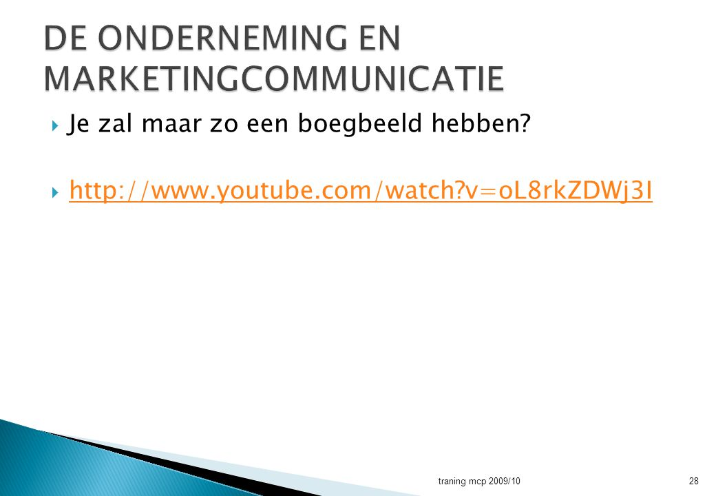 DE ONDERNEMING EN MARKETINGCOMMUNICATIE