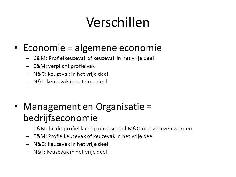 Verschillen Economie = algemene economie