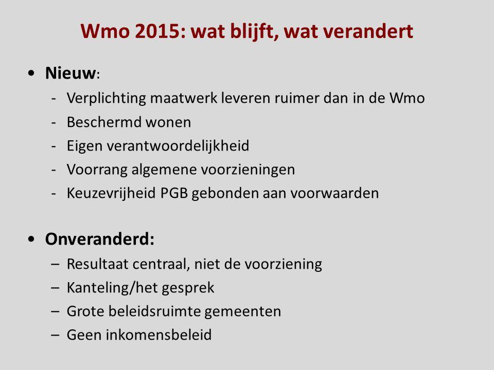 Wmo 2015: wat blijft, wat verandert