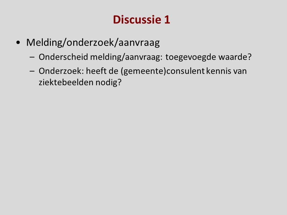 Discussie 1 Melding/onderzoek/aanvraag