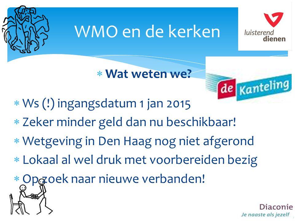 WMO en de kerken Wat weten we Ws (!) ingangsdatum 1 jan 2015