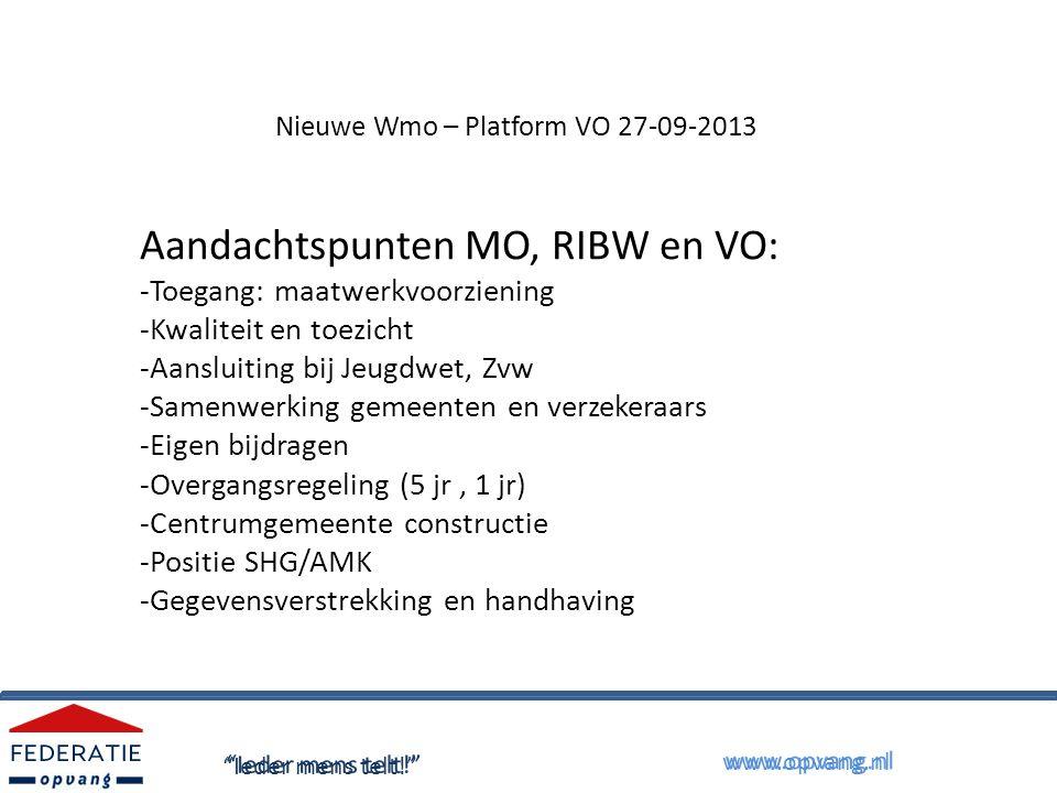 Nieuwe Wmo – Platform VO 27-09-2013