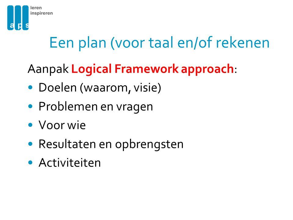 Een plan (voor taal en/of rekenen