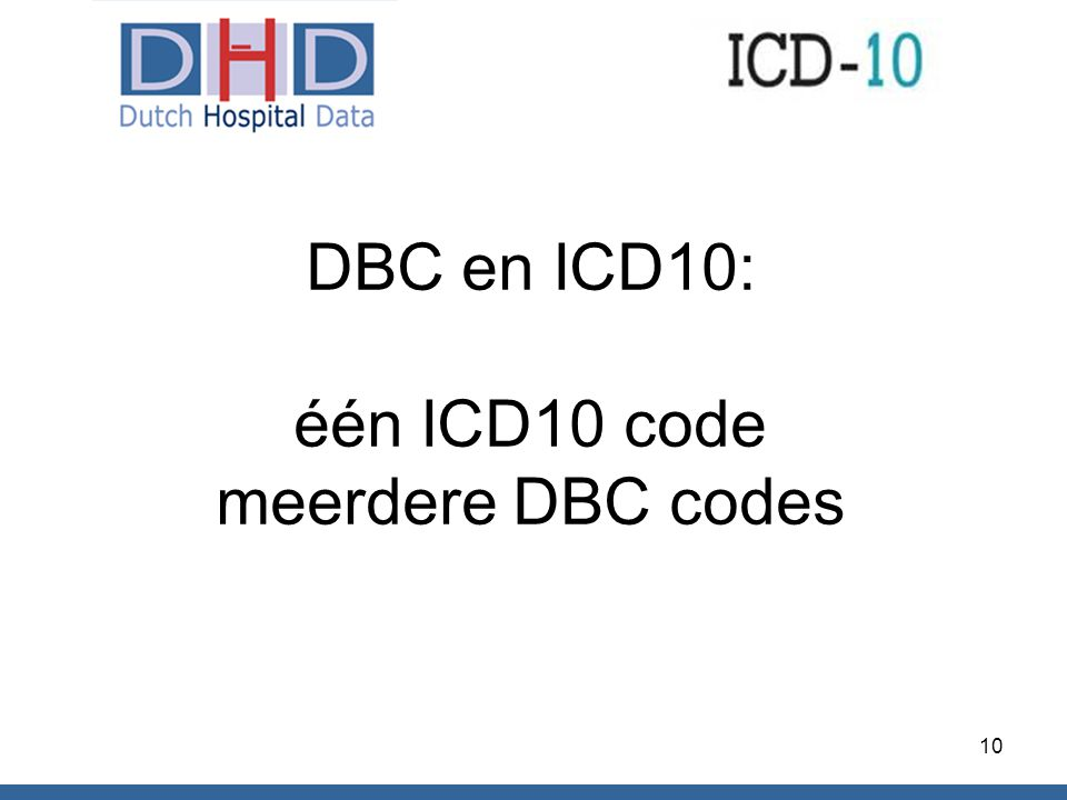 DBC en ICD10: één ICD10 code meerdere DBC codes