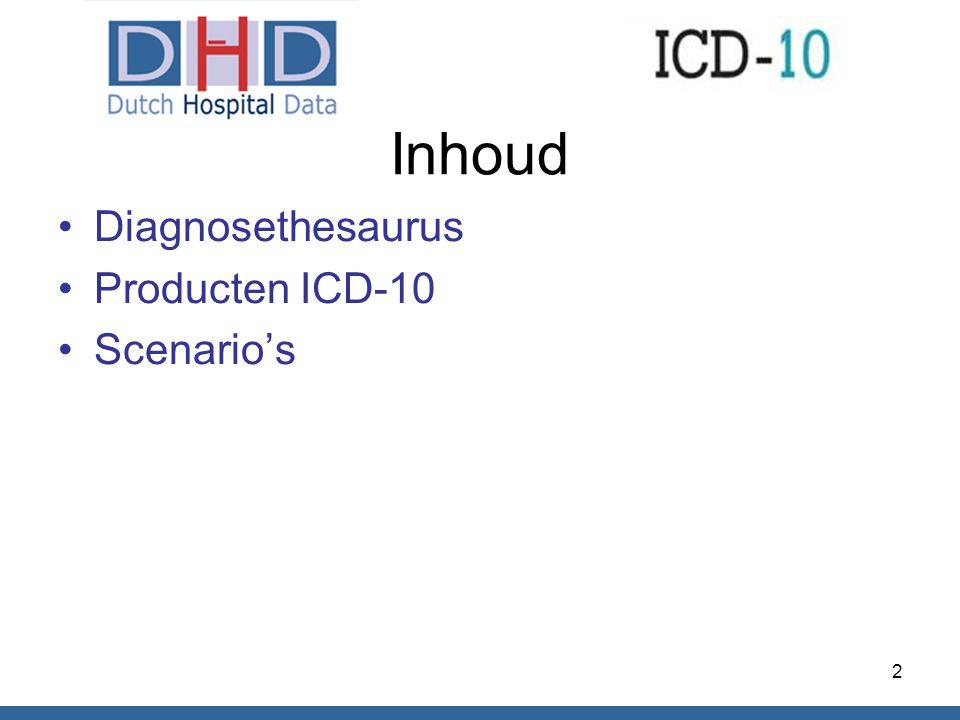 Inhoud Diagnosethesaurus Producten ICD-10 Scenario's