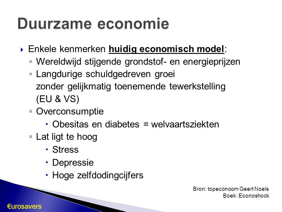 Duurzame economie Enkele kenmerken huidig economisch model: