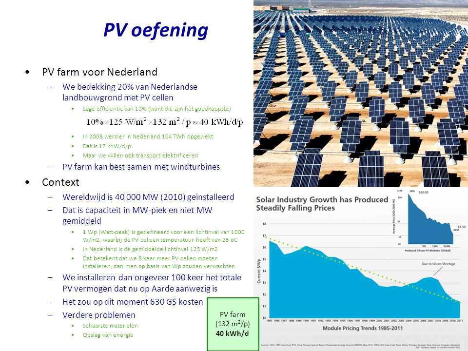 PV oefening PV farm voor Nederland Context