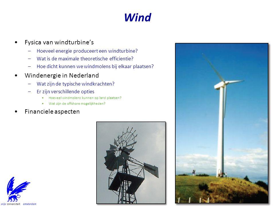 Wind Fysica van windturbine's Windenergie in Nederland