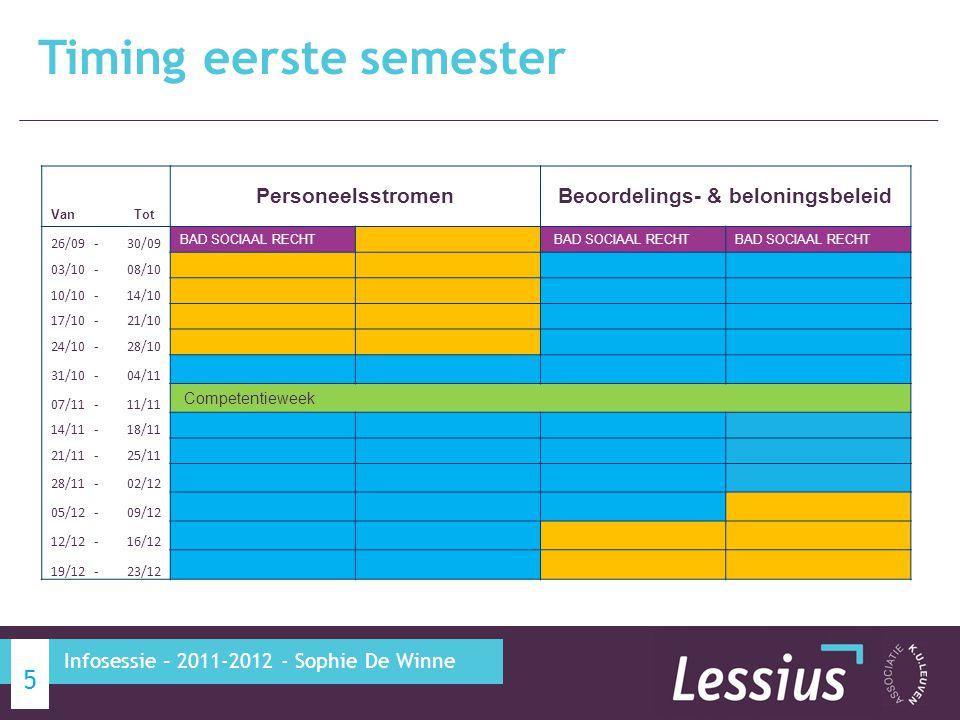 Timing eerste semester