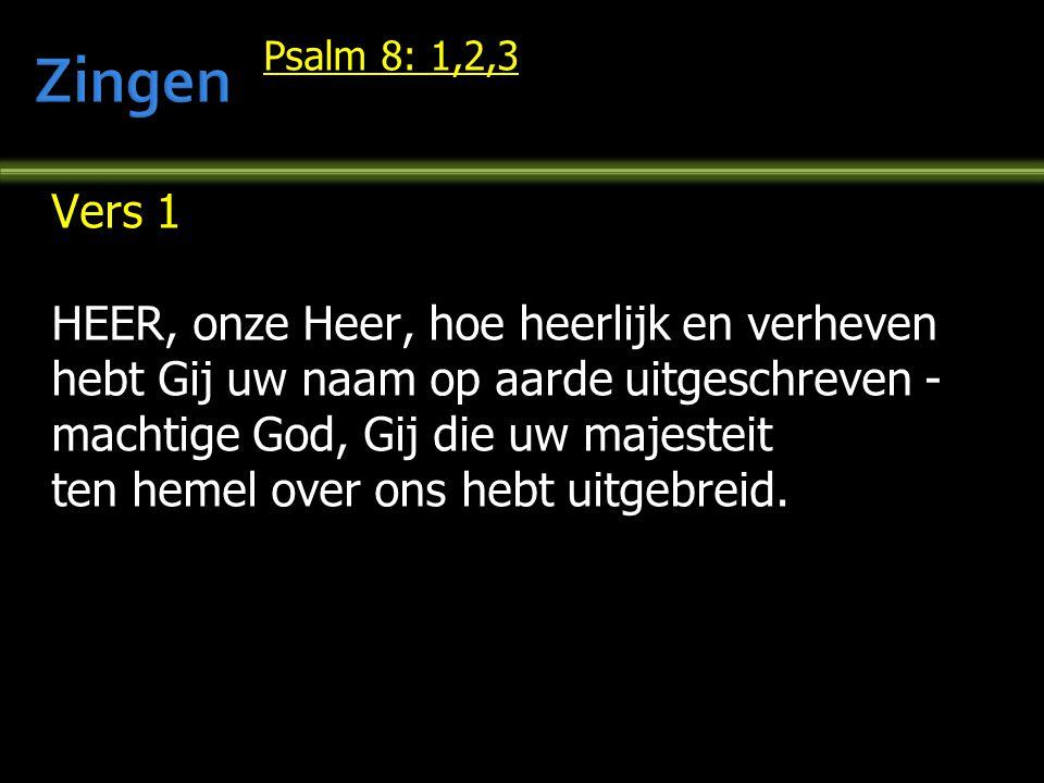 Zingen Vers 1 HEER, onze Heer, hoe heerlijk en verheven