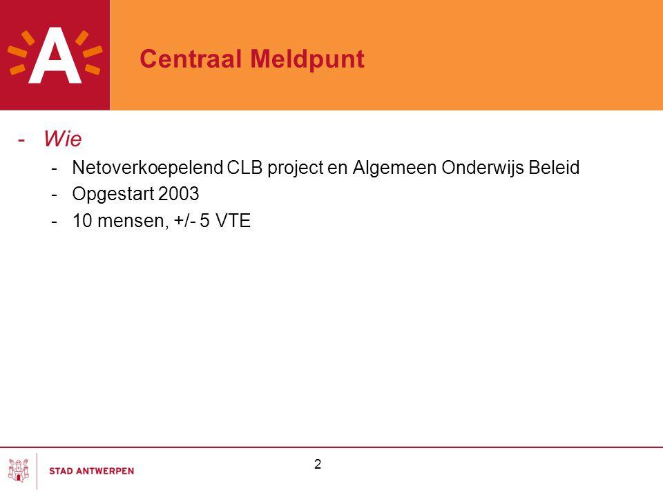 Centraal Meldpunt Wie. Netoverkoepelend CLB project en Algemeen Onderwijs Beleid. Opgestart 2003.
