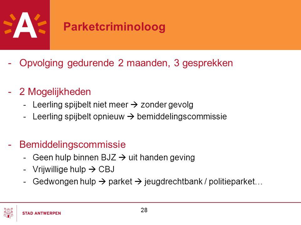 Parketcriminoloog Opvolging gedurende 2 maanden, 3 gesprekken