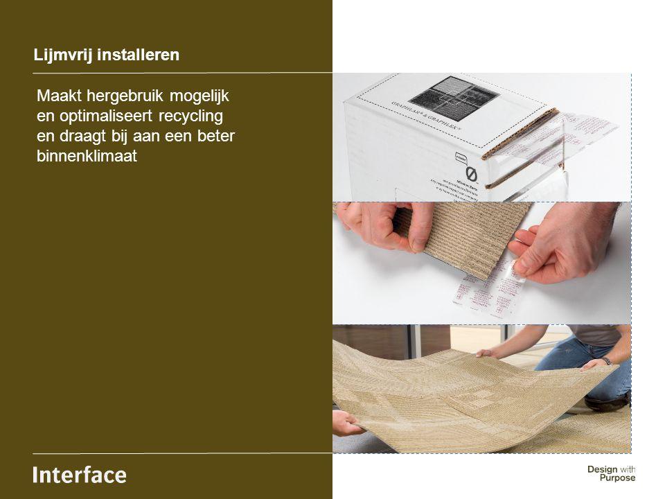 Lijmvrij installeren Maakt hergebruik mogelijk en optimaliseert recycling. en draagt bij aan een beter.