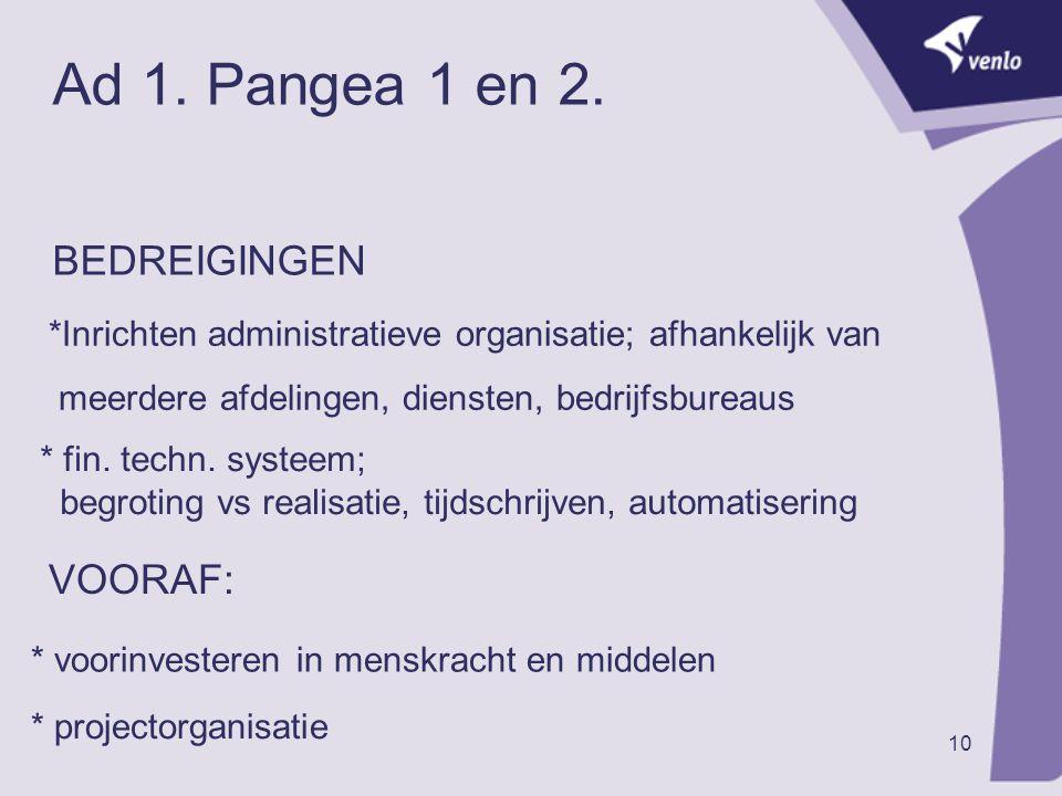 Ad 1. Pangea 1 en 2. BEDREIGINGEN VOORAF: