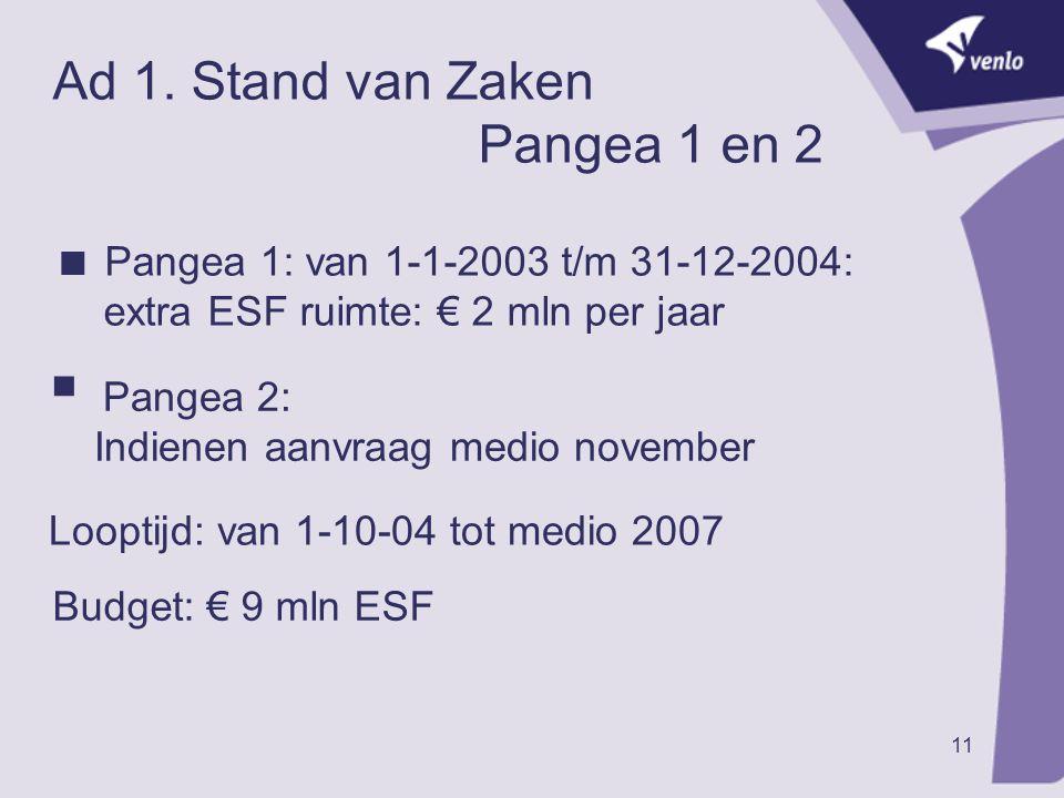 Ad 1. Stand van Zaken Pangea 1 en 2