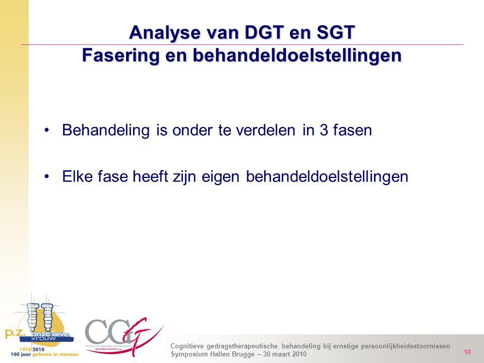 Analyse van DGT en SGT Fasering en behandeldoelstellingen
