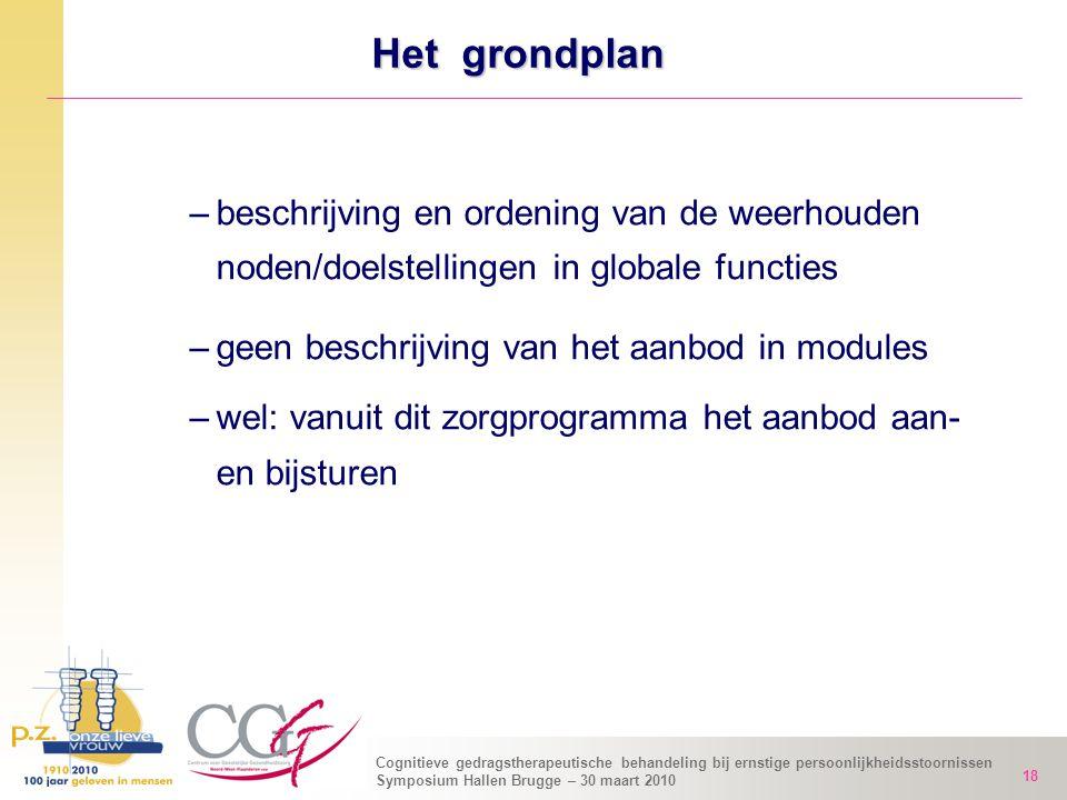 Het grondplan beschrijving en ordening van de weerhouden noden/doelstellingen in globale functies.