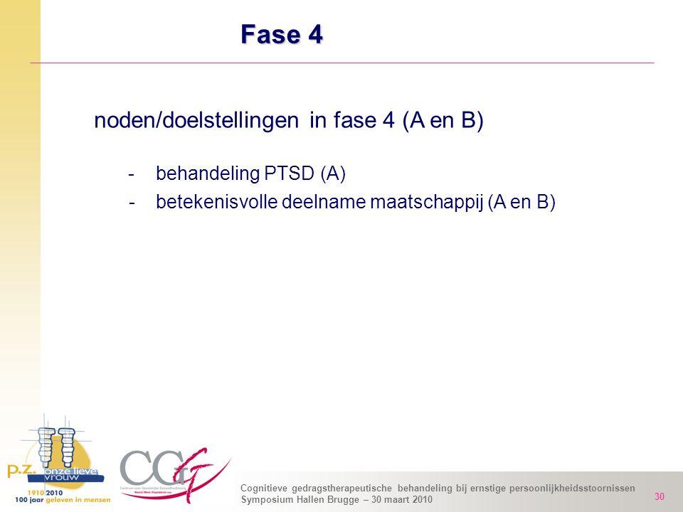 Fase 4 noden/doelstellingen in fase 4 (A en B) - behandeling PTSD (A)
