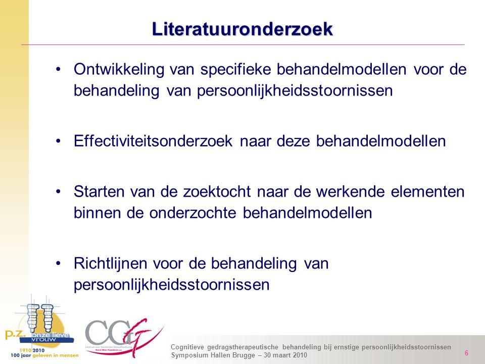 Literatuuronderzoek Ontwikkeling van specifieke behandelmodellen voor de behandeling van persoonlijkheidsstoornissen.