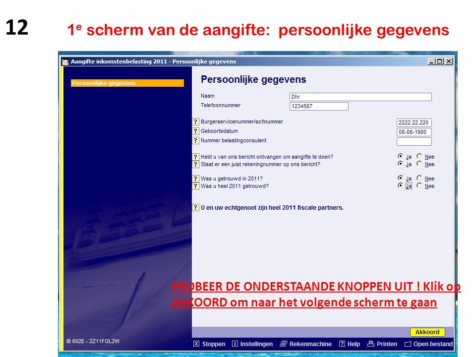 12 1e scherm van de aangifte: persoonlijke gegevens