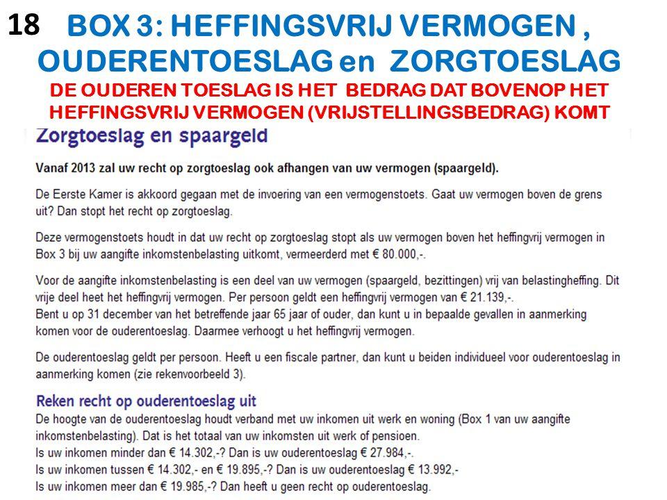 BOX 3: HEFFINGSVRIJ VERMOGEN , OUDERENTOESLAG en ZORGTOESLAG DE OUDEREN TOESLAG IS HET BEDRAG DAT BOVENOP HET HEFFINGSVRIJ VERMOGEN (VRIJSTELLINGSBEDRAG) KOMT
