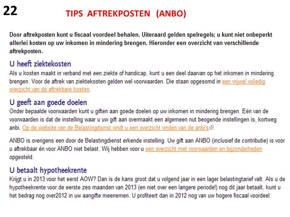 22 TIPS AFTREKPOSTEN (ANBO)