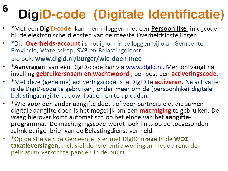 DigiD-code (Digitale Identificatie)