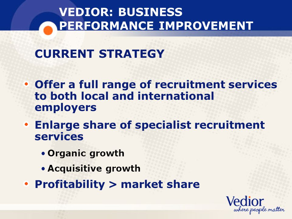 VEDIOR: BUSINESS PERFORMANCE IMPROVEMENT