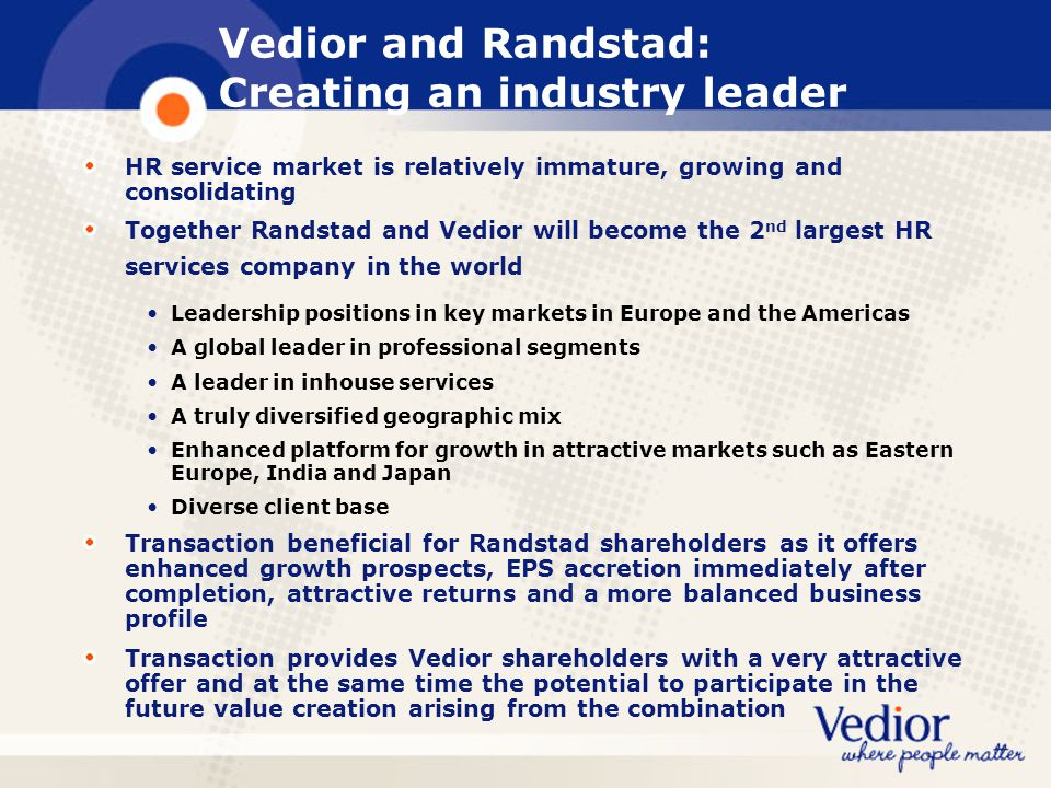 Vedior and Randstad: Creating an industry leader