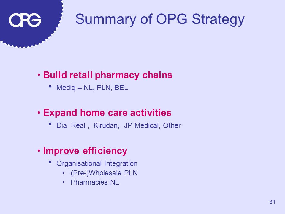 Summary of OPG Strategy