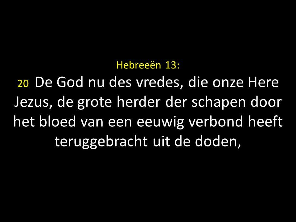 Hebreeën 13: 20 De God nu des vredes, die onze Here Jezus, de grote herder der schapen door het bloed van een eeuwig verbond heeft teruggebracht uit de doden,