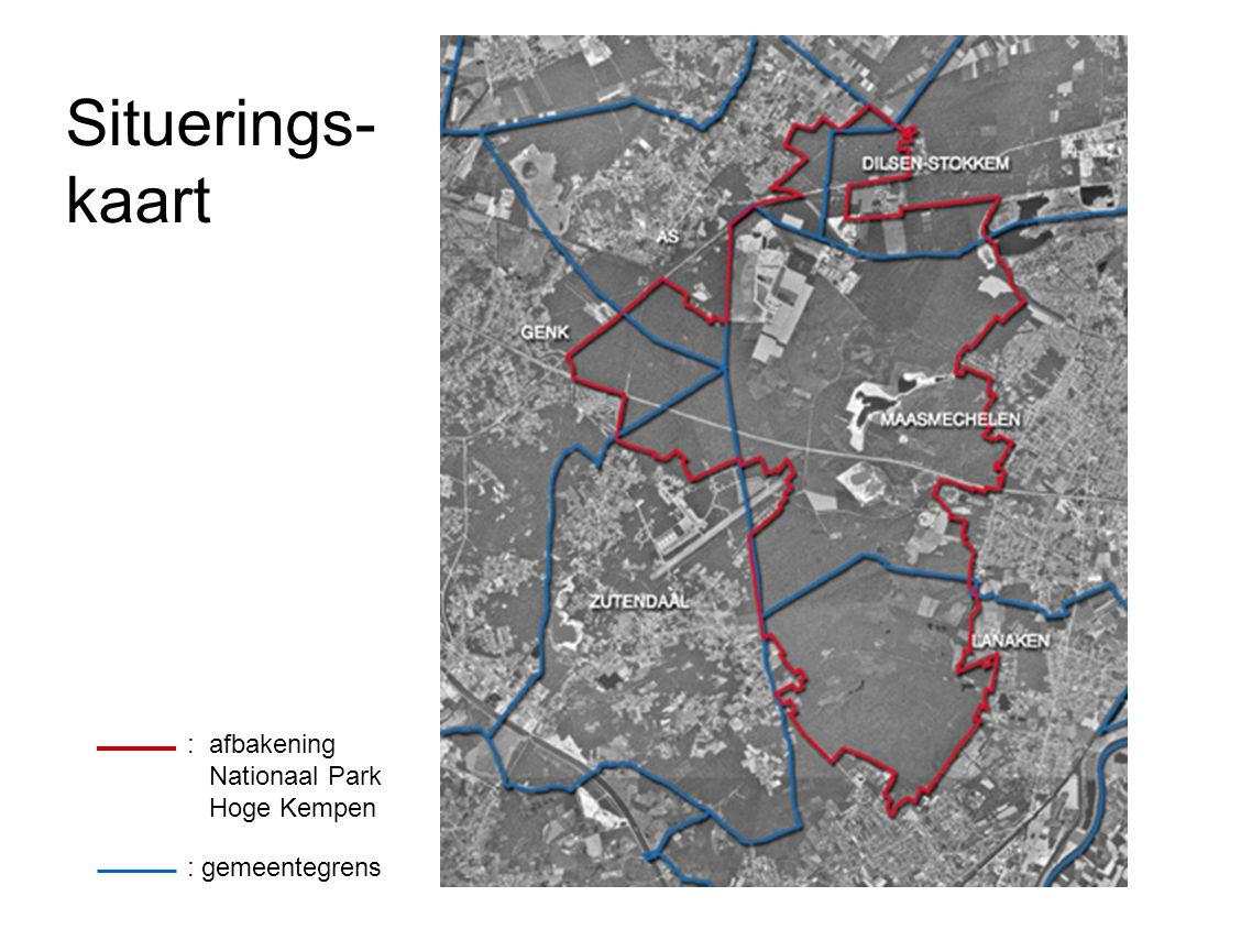Situerings- kaart : afbakening Nationaal Park Hoge Kempen