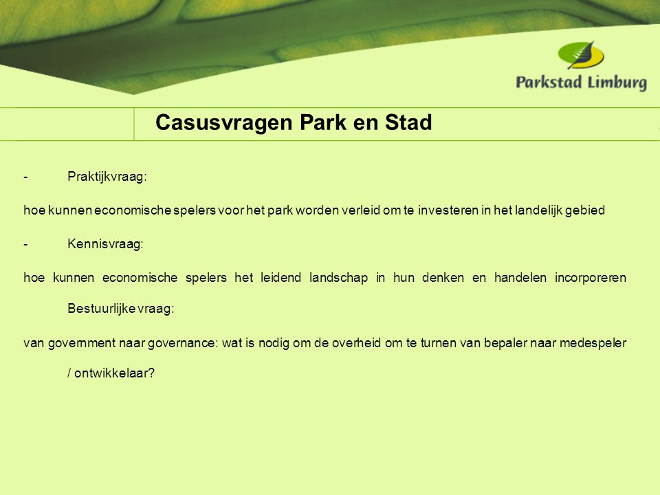 Casusvragen Park en Stad