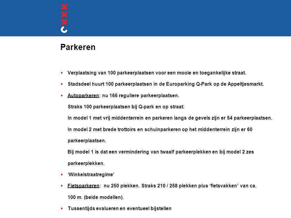 Parkeren Verplaatsing van 100 parkeerplaatsen voor een mooie en toegankelijke straat.