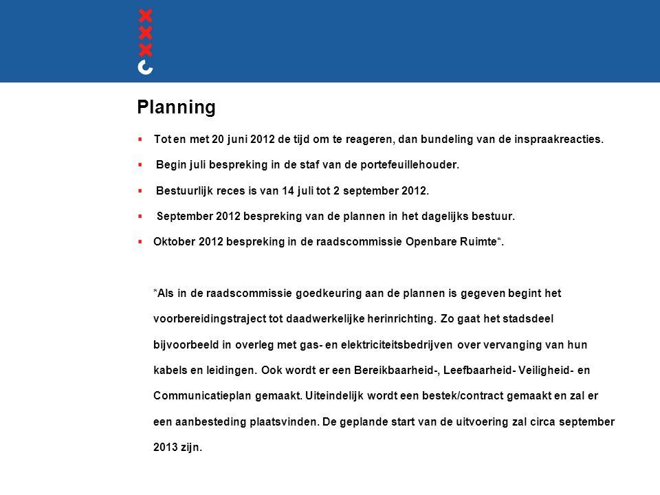 Planning Tot en met 20 juni 2012 de tijd om te reageren, dan bundeling van de inspraakreacties.