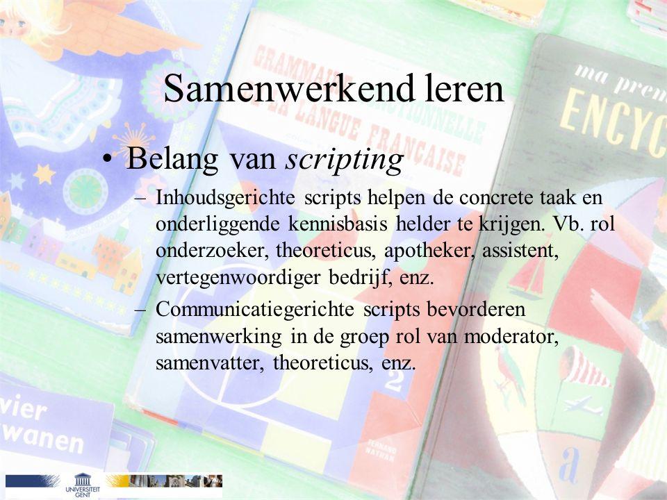 Samenwerkend leren Belang van scripting