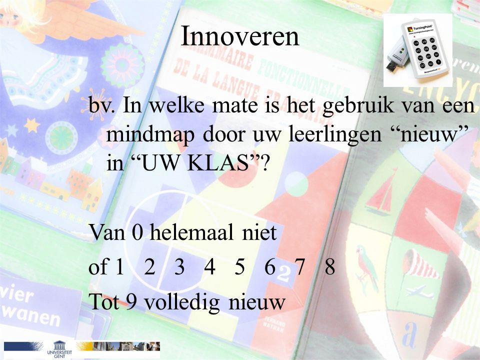Innoveren bv. In welke mate is het gebruik van een mindmap door uw leerlingen nieuw in UW KLAS