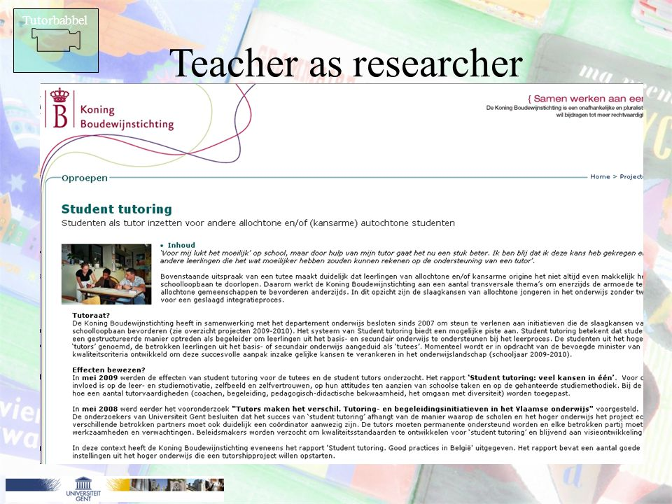 Tutorbabbel Teacher as researcher