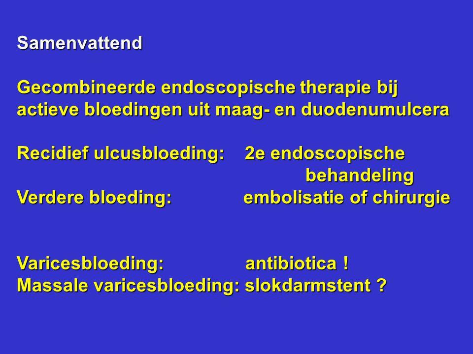 Samenvattend Gecombineerde endoscopische therapie bij. actieve bloedingen uit maag- en duodenumulcera.