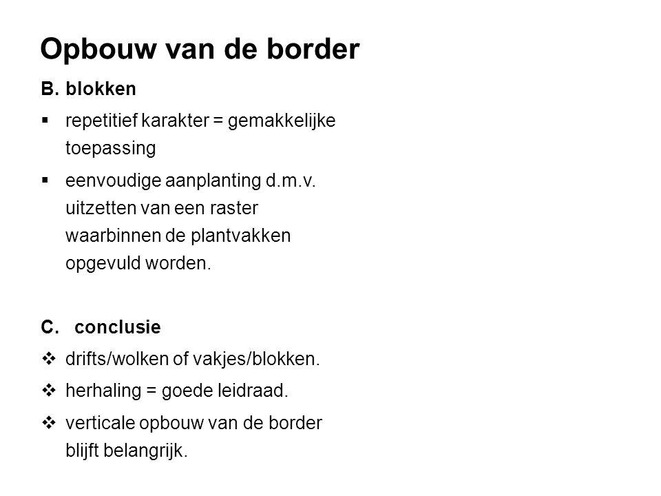 Opbouw van de border B. blokken