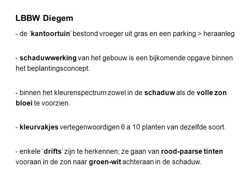 LBBW Diegem de 'kantoortuin' bestond vroeger uit gras en een parking > heraanleg.