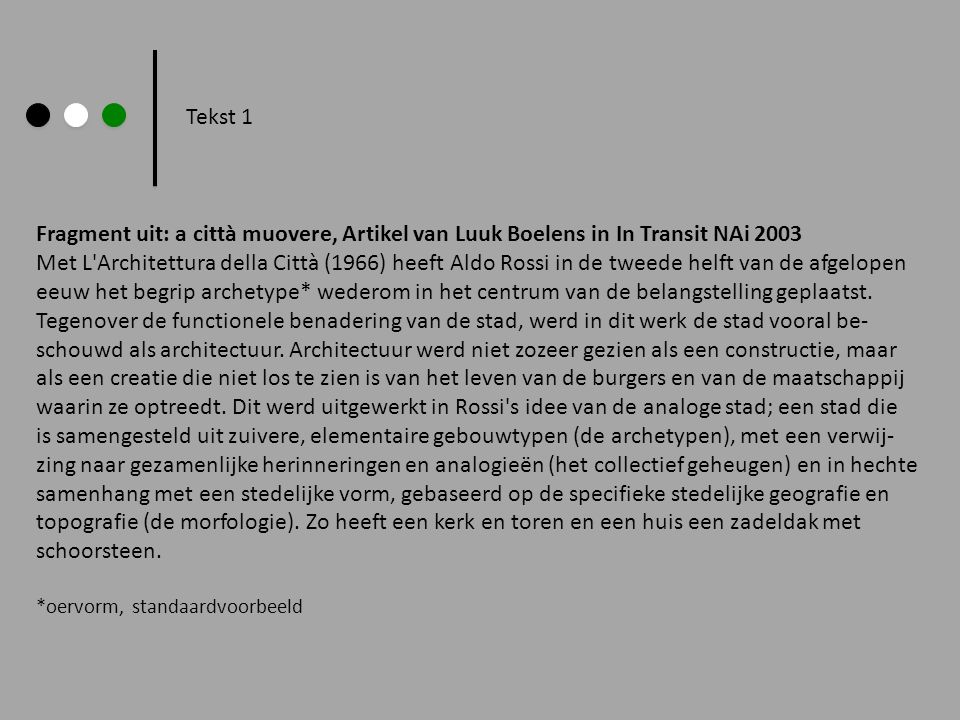 Tekst 1 Fragment uit: a città muovere, Artikel van Luuk Boelens in In Transit NAi 2003.