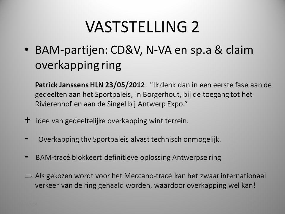VASTSTELLING 2 BAM-partijen: CD&V, N-VA en sp.a & claim overkapping ring.