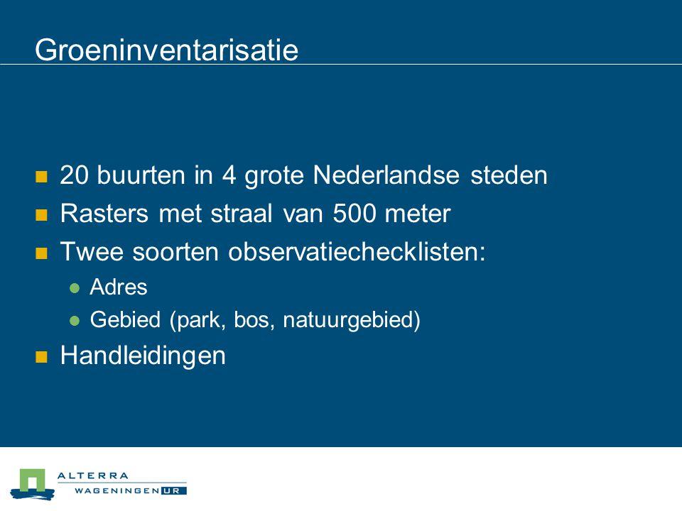 Groeninventarisatie 20 buurten in 4 grote Nederlandse steden